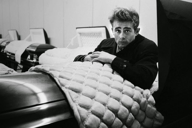 James Dean posing with a coffin, 1955 (1)