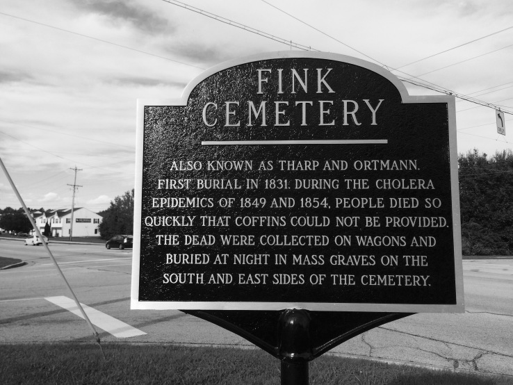 Fink Cemetery has mass graves from the cholera epidemic.
